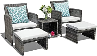 OC Orange-Casual Wicker Patio Furniture Set Rattan Patio Chair Set with Ottoman, Pillows Included, Perfect for Balcony, Small Space, Porch, 5 Pieces