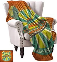Anyangeight Digital Printing Blanket,Latin America Culture Inspired Ethnic Sombrero and Cactuses Worn 60