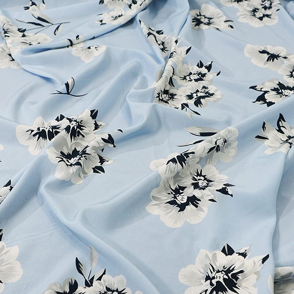 High order XIAOHUAHUA 100% Pure Silk Daily bargain sale Fabric Light Blue P Lily Summer