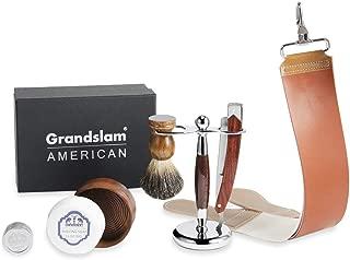 Men Straight Shaving Razor Badger Hair Brush Stand Holder Leather Strop Soap Bowl