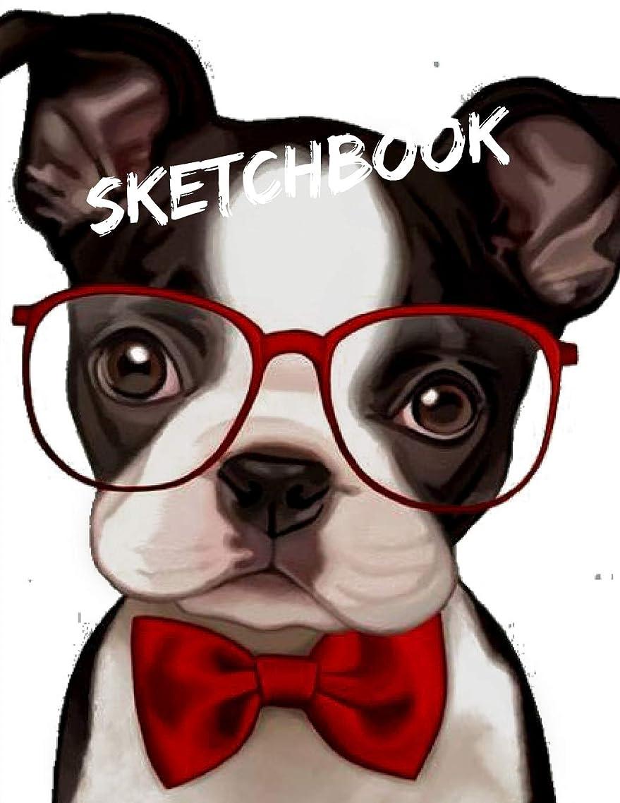 マージンインシデント失望Sketchbook: A Cute Fashion Puppy Dog with Red Bow tie Themed Personalized Artist Sketch Book Notebook and Blank Paper for Drawing, Painting Creative Doodling or Sketching.