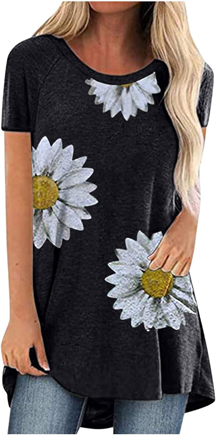 Womens Long T Shirts for Summer Plus Size Crewneck Short Sleeve Loose Fit Tees Graphic Basic Blouse Tops