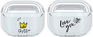2Pack Case Compatible AirPods PRO Case Cover Crystal, Clear [Front LED Visible] [Shockproof] - Transparent Protective TPU Cover Compatible with Apple AirPods PRO Wireless Charging Case-Queen+Love