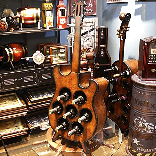 YBBZJ Wooden Wine Rack Guitar Multifunction Wine Cabinet Holds 7 Bottles of Red Wine and 2 Wine Glasses Office Home Decor Wine Rack