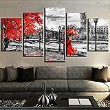 HIMFL Segeltuch Wandkunst Modular Bilder 5 Panel London-Glockenturm-Liebes-Weise Gemälde Zuhause Dekoration Für das Wohnzimmer,A,30×50×2+30×70×2+30×80×1