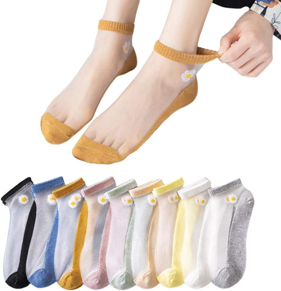 Liubu396 10 Pairs Women Cotton Ankle Socks Transparent Lace Socks Ultra-thin Socks Daisy Flower Pattern-Soft and Breathable-Free Size