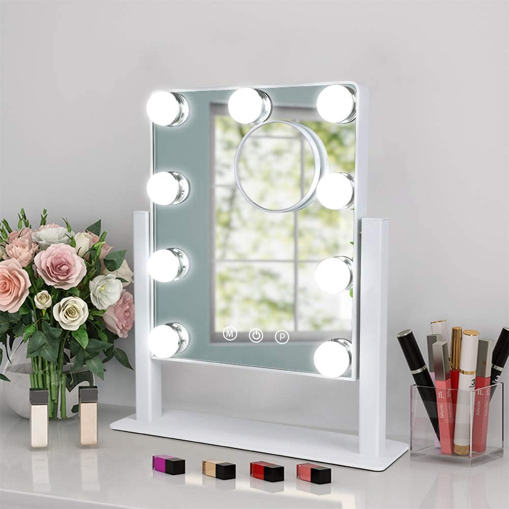 Depuley Makeup Vanity Mirror with Max 51% OFF Lights Magnification Soldering 10X Holl