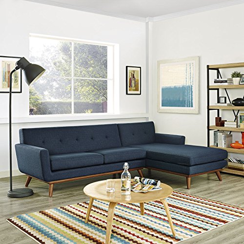 Modway Engage Mid-Century Modern Upholstered Fabric Right-Facing Sectional Sofa in Azure