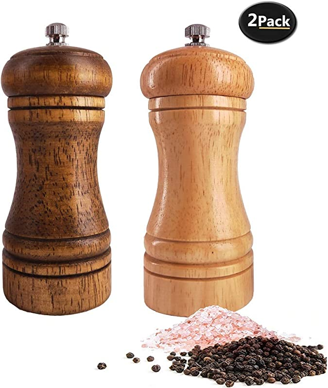 Salt And Pepper Grinders Set Ouktor Manual Wooden Salt And Pepper Mills Shakers Ceramic Rotor With Strong Adjustable Coarseness 5 5inch