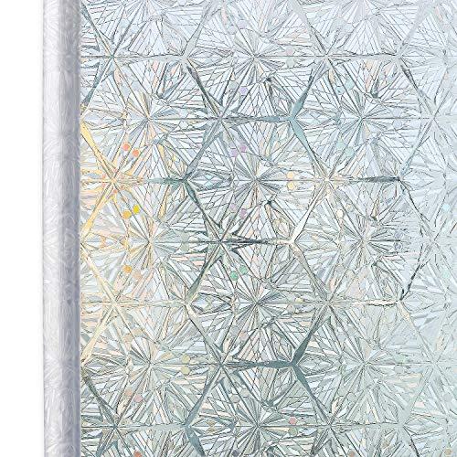 Homein Fensterfolie Selbstklebende Folie für Fenster Bunt Sichtschutzfolie Selbsthaftend Klebefolie Blickdicht Sichtschutz Glastüren Bad Window Film ohne Kleber 3D Motiv Eiskristall 44.5 x 200 cm