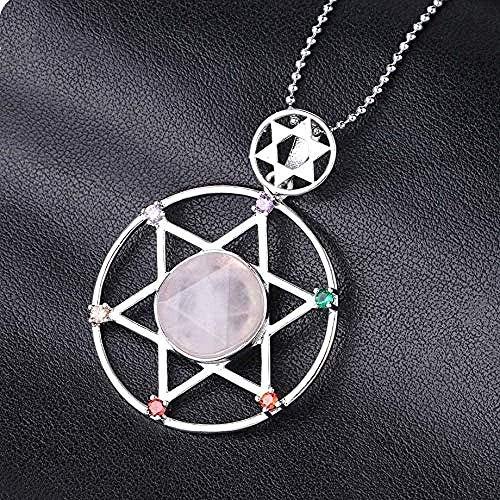 FACAIBA Collar con Colgante de hexagrama de Piedra Natural, joyería de Estrella Espiritual de Cuentas para Mujeres, Hombres, Collar de Longitud 45 cm, Regalo