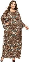 KCatsy Plus Size bat Sleeve Print Dress