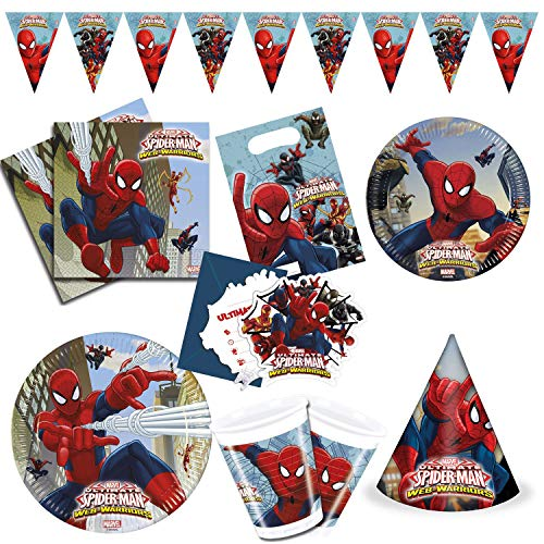 Procos 10108574 - Kinderpartyset Ultimate Spiderman XL, 63-teiliges Set, 16 Teller, 8 Becher, 1 Wimpelkette, 6 Hüte, 6 Einladungen, 6 Tüten, 20 Servietten, Web Warriors, Marvel