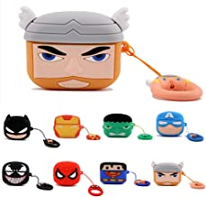Axanbox 3D Airpods Pro Case, Superhero Cartoon Silicone Airpods 3rd Cover, Shockproof Protective Skin with Keychain Compatible with Airpods Pro (Thor)