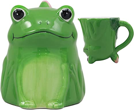 Amazon Com Ebros Topsy Turvy Ceramic Green Frog With Water Lily Handle Coffee Mug Drink Cup 11oz Animal Toads Or Frogs Decor Collectible Kitchen Accessory Kitchen Dining