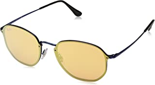 Óculos De Sol Ray Ban Hexagonal Blaze RB3579 Azul Lente Espelhada Laranja Ouro