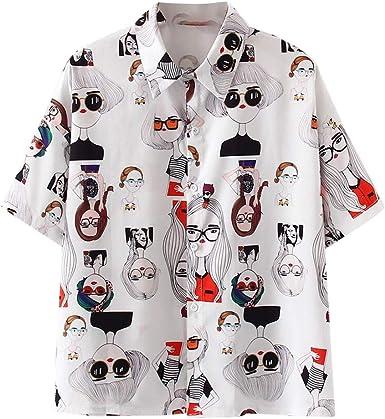 Auifor💕Manga Larga Floja del Gato de Corea Botón Retro de la Solapa de la Camisa de la impresión de Las Mujeres de Moda Lindo Camiseta de Manga Larga