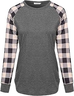 WSPLYSPJY Men's Tops Raglan Shirt Plaid Baseball Tee Fall Casual Cute T Shirts