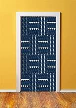 Navy Blue Decor 3D Door Sticker Wall Decals Mural Wallpaper,Rope Lattice Geometric Contrast Nautical Patterns Ethnic Motifs Sail Decorative,DIY Art Home Decor Poster Decoration 30.3x78.6821,Navy Blue