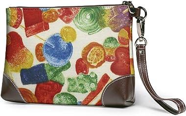 Ahdyr pochette en cuir pour femmes Candy Fabric Leather Wristlet Clutch Bag Sacs à main à glissière Sacs à main pour femmes P
