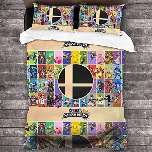 QWAS Zelda Bettbezug, 3-teiliges Cartoon-Kinderbettwäscheset, exquisites Design 3D-Digitaldruck-Kindergeschenk (V02,140x210cm+50x75cmx2)