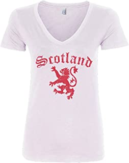 Threadrock Women`s Lion of Scotland V-Neck T-Shirt