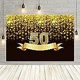 50 cumpleaños Fiesta telón de Fondo Dorado Brillo Lunares Bokeh Estrella Brillante Feliz Aniversario Fondo Prop Vinyl-250x180cm