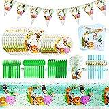 Set de Vajilla de Fiesta, 92PCS Selva Fiesta de Cumpleaños Infantil Decoracion de Animales Selva Safari Tema Suministros para la Fiest Servilletas Platos Tazas Cuchillos Cucharas Tenedores Pajas