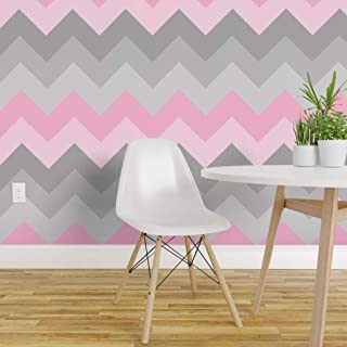 Spoonflower Peel and Stick Removable Wallpaper, Pink Chevron Nursery Ombre Girl Print, Self-Adhesive Wallpaper 12in x 24in Test Swatch