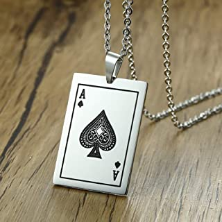 Métal Cadeau Hommes Noir Émail Blanc Carte jeu Ace of Spades Poker Ring Jewelry