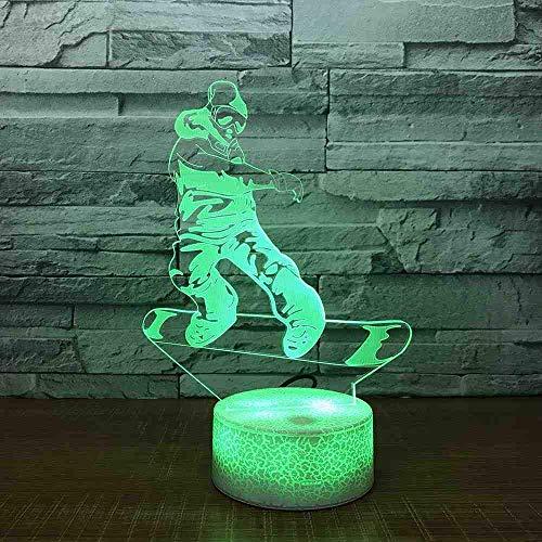 Skateboards 3D nachtlampje Kleurrijke 3D nachtkastje geleid lamp witte onderkant sexy 7 lamp van de kleurverandering-3D