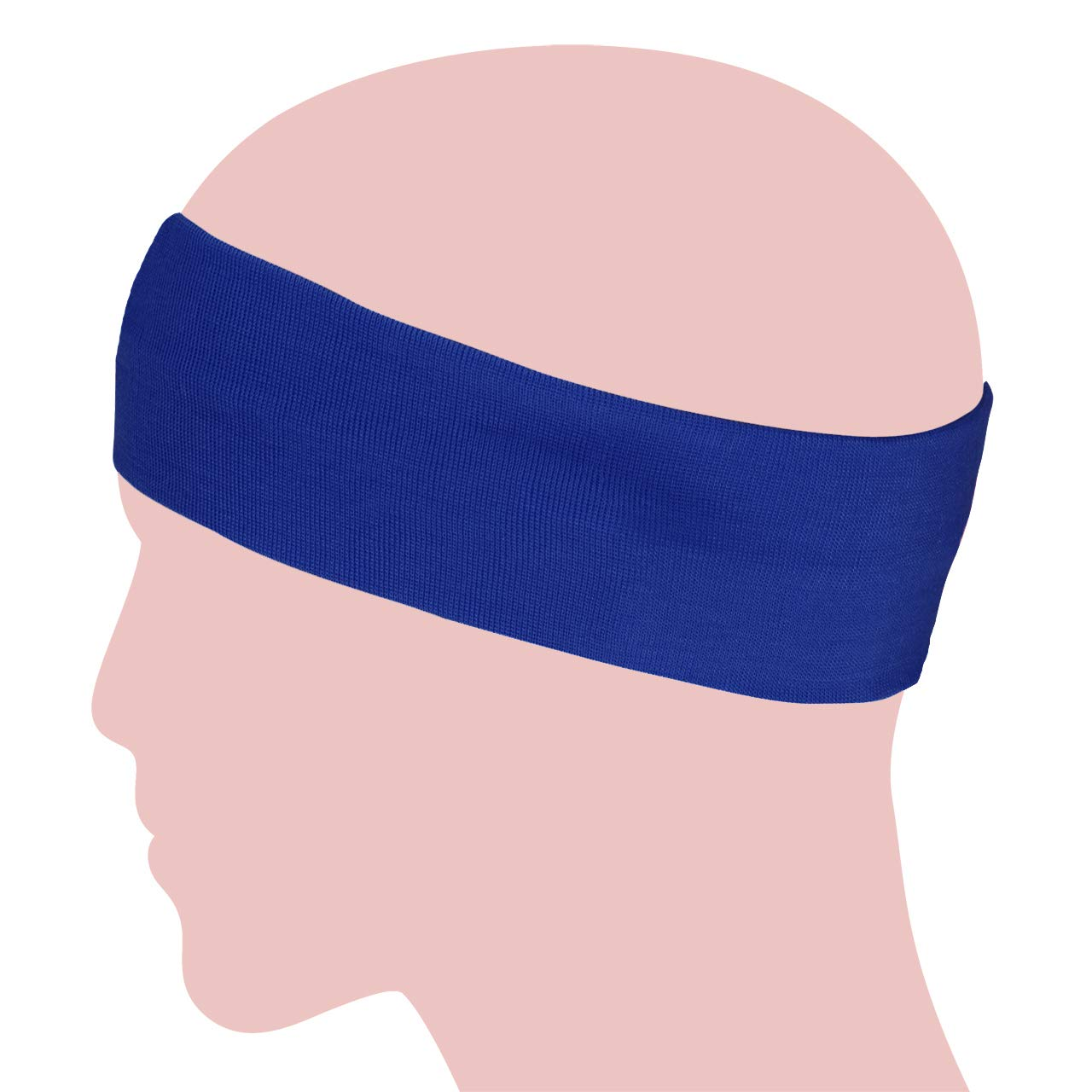 Simple Solid Color Stretch Headband - Blue (1 Pc)