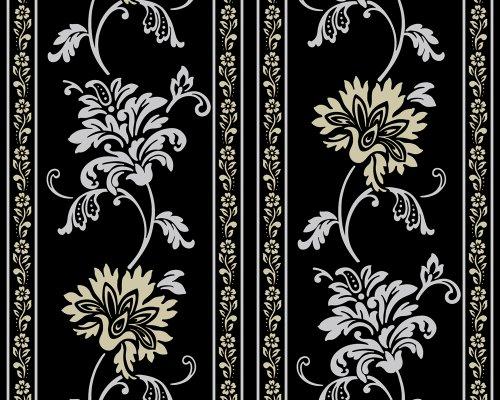 Livingwalls Classic Fleece, 665348, behang met patroon, bloemen, klassiek, op textiel lijkend oppervlak, metallic, zwart