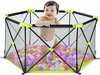 Foldable Baby Playpen Portable Kids Activity Centre Safety Play Yard Indoor and Outdoor with Carry Case and Washable  Green  6-Panel
