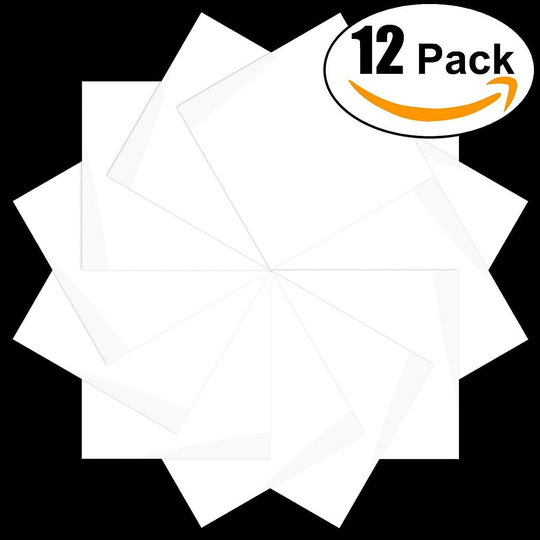CAREGY Heat Transfer Vinyl HTV for T-Shirts 12x12 Inches 12 Precut Sheets(White)