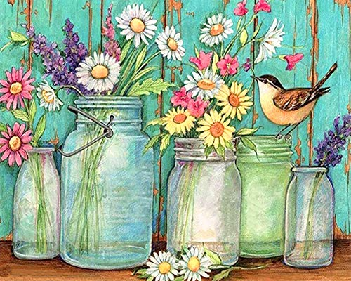 Bimkole DIY Paint by Numbers Kit Blumen Vögel Flaschen Malen Nach Zahlen Erwachsene, Acrylfarbe Anfänger Zeichnen Malen Mit Pinseln Mauer Für Home Office Wandkunst Dekor 40 * 50 cm