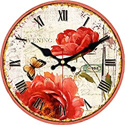 ShuaXin Wooden Room Decor Big Red Flower Style Wall Clocks,12 Inch Classic Simple Rustic Country Art Decorative Wall Clock for Living Room,Dining Room