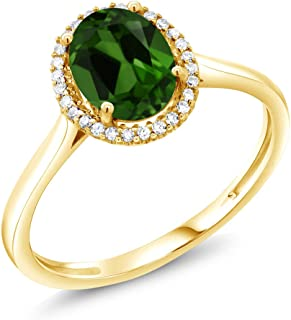 Gem Stone King 1.20 Ct Oval Green Chrome Diopside 10K Yellow Gold Diamond Ring (Available 5,6,7,8,9)