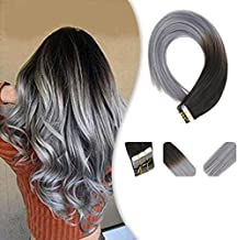 Youngsee 16 Inches Ombre Tape Hair Extensions Human Hair Natural Black to Blue Grey Human Hair Extensions Tape on Extensions Human Hair 25gram Per Package