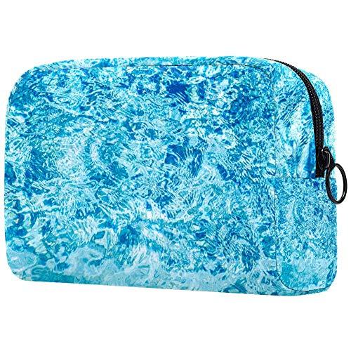 Sea Ocean Wave - Bolsa de maquillaje con diseño de arrecifes de coral azul bajo el agua y organizador para viaje portátil para niñas, mujeres