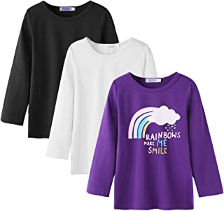 Arshiner Kids 3 Pack Long Sleeve Tees Girls Tees 3pcs Shirts for 4-12 Years