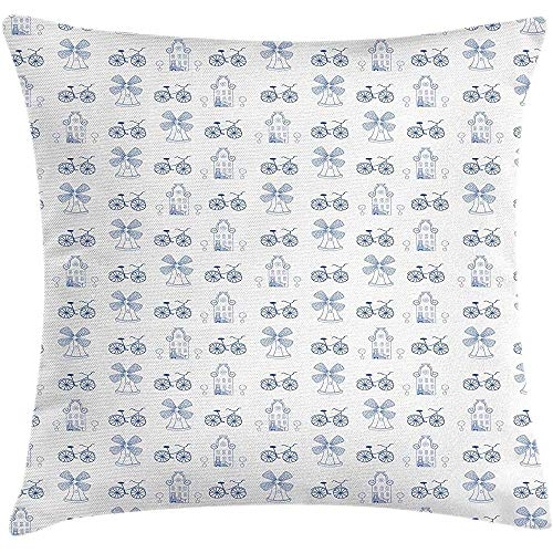 Kussenslopen voor wielgooien, kussensloop, Nederlandse siertekeningen, in blauwe molen smal huis, fietsvormboom, decoratieve vierkante kussensloop, 45X45cm, wit nachtblauw