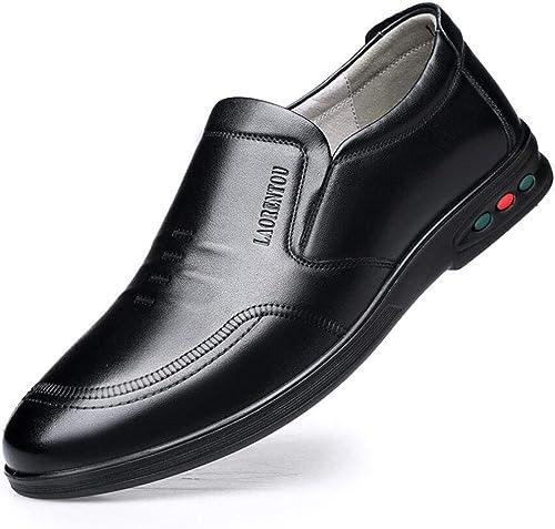 ZIXUAP zapatos de Hombre Versión Coreana de Cuero de zapatos versátiles Transpirables zapatos Casuales zapatos de Hombre