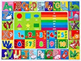 IMIKEYA Kids Educational Rug Playtime Collection ABC, Numbers and Shapes Learning Carpet Kids Play Rug Mat Playmat for Playroom Bedroom, 55.1 x 43.3 inch