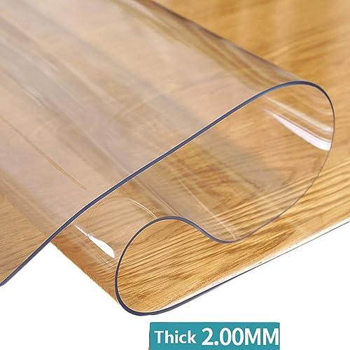Tapis de table en plastique transparent cristal épais for table de nuit en bout de table multi-taille (Couleur   Transparent 2.0mm, Taille   85×135cm)