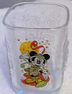 Square Walt Disney World Celebration 2000 Magic Kingdom with Mickey Mouse Glass Tumbler COLLECTIBLE