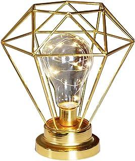 SUAVER Lampe de Chevet Lampe de nuit décoratif,Diamond Shape Rétro Lampe de Table Métal Lampe de bureau à piles pour chamb...