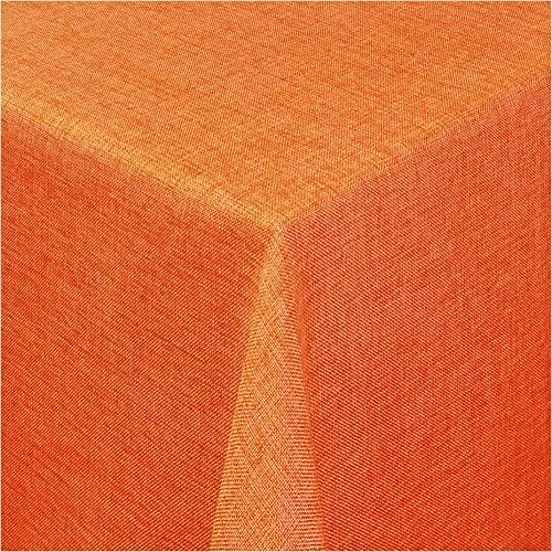 TEXMAXX®Premium Gartentischdecke Tischdecke Garten eckig Maßanfertigung - 140 x 450 cm in Orange - Tischdecken im Leinen Design - Lotuseffekt mit Fleckschutz