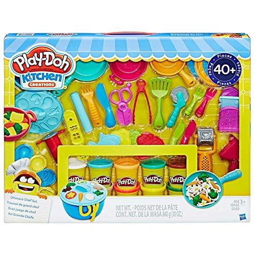Play-Doh Kitchen Creations Ultimate Chef Set – Erstellen und machen Sie Mahlzeiten mit Play-Doh Küchenwerkzeugen – 40 + Stück & 10 Dosen Play-Doh