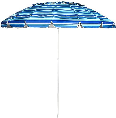new arrival Giantex 8 Ft Beach Umbrella, Patio Sunshade online sale Umbrella with Sand Anchor & Tilt Mechanism, 16 Fiberglass Ribs, Air-Vent Design, Portable Sun Shelter Suitable for Seaside, Backyard, Poolside, Market outlet sale Entrance online